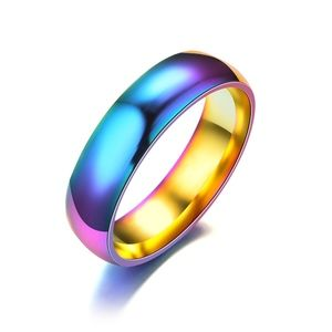 Jewelry - Rainbow Polished Stainless Steel 6MM Band Ring